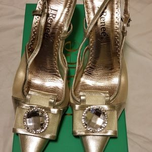 J.Renee Metallic Gold Slingback size 10